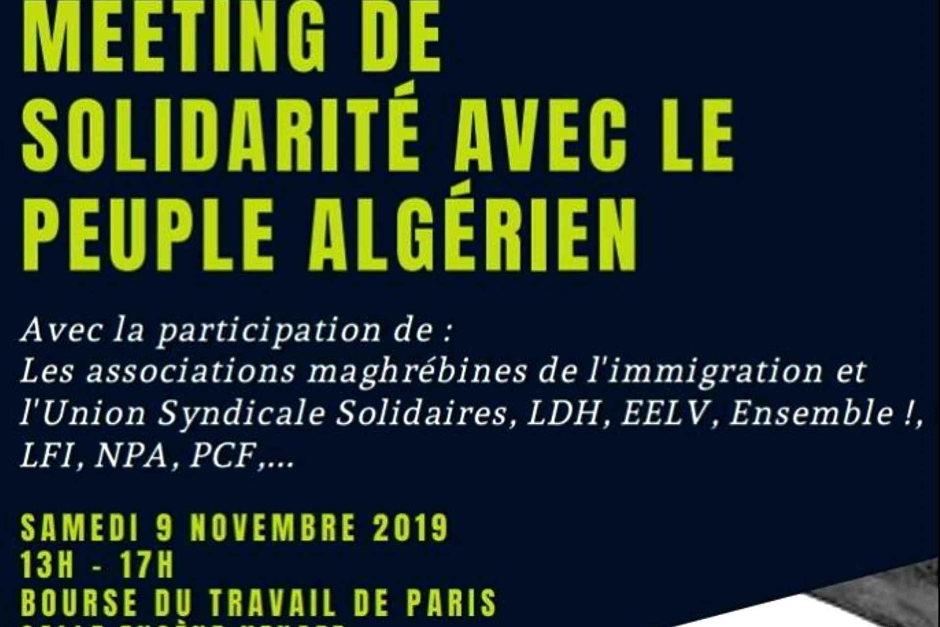 Paris: meeting de solidarité avec le peuple algérien